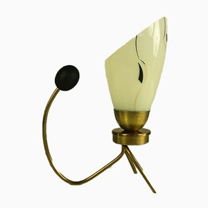 Brass & Glass Crow's Foot Reading Lamp, 1950s