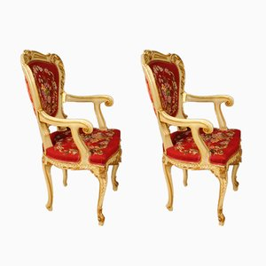 Vintage Venetian Lacquered & Gilded Armchairs, Set of 2