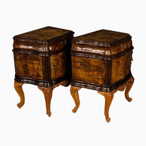 Italian Wooden Bedside Tables, 1950s, Set of 2