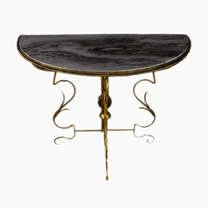French Metal & Marble Half-Moon Console, 1960s