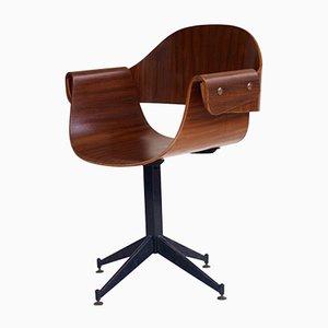 Silla de escritorio giratoria italiana de Carlo Ratti, años 50