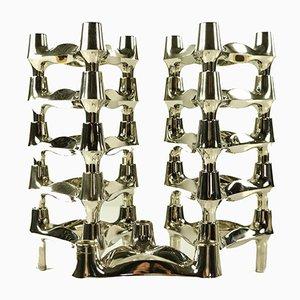 Portacandele modulari in metallo cromato di BMF, set di 11