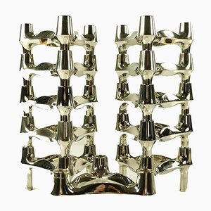 Vintage Modular Chrome Candleholders from BMF, Set of 11