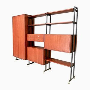Large Italian Brass & Teak Shelving Unit, 1960s