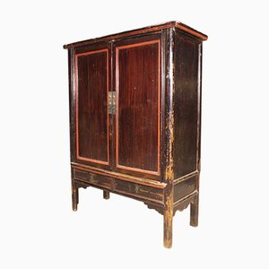 Chinese Lacquered Wood Wardrobe