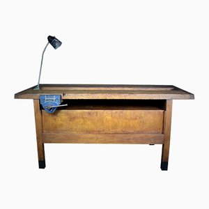 Large Vintage Workbench with Lamp and Vice
