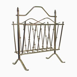 Mid-Century Brass Magazine News Rack by Maison Charles