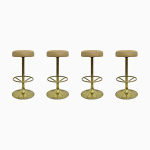 Gilded Brass Bar Stools by Börje Johansson, 1970s, Set of 4