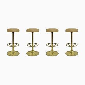 Gilded Brass Bar Stools by Börje Johansson, 1970s, Set of 4