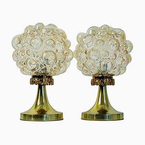 Lámparas de mesa de latón y cristal burbuja de Helena Tynell para Limburg, años 60. Juego de 2