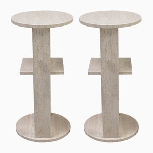 Travertine Bar Stools, 1970s, Set of 2