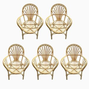 Vintage Rattan Armchairs, 1970s, Set of 5