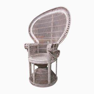 Italienischer Armlehnstuhl aus Korbgeflecht, 1930er