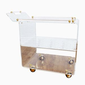 Plexiglas & Brass Bar Cart, 1980s