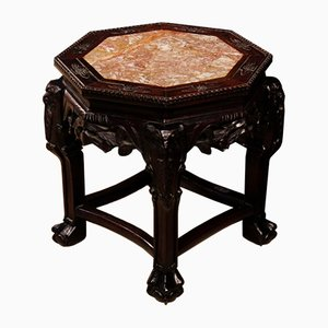 Chinese Wooden Coffee Table with Marble Top, 1950s