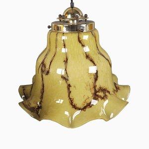 Lámpara de techo grande de vidrio de Peil & Putzler, años 60