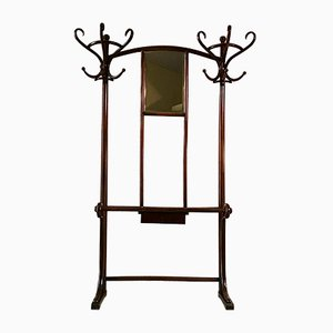 Antique Art Nouveau Beech & Bentwood Coat Stand with Mirror from Thonet