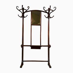 Perchero modernista antiguo de haya y madera curvada con espejo de Thonet