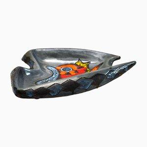 Centro de mesa italiano de cerámica vidriada con motivo de pez, años 60