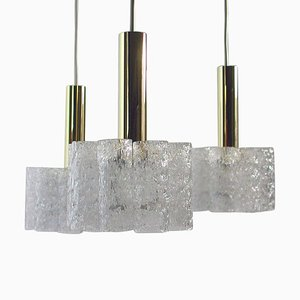 German Cascading Textured Glass & Brass Chandelier from Doria Leuchten, 1960s