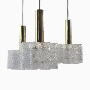 German Cascading Textured Glass & Brass Chandelier from Doria Leuchten, 1960s