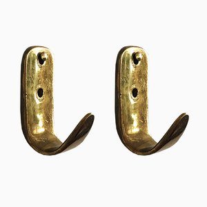 Brass Coat Wall Hooks by Carl Auböck for Werkstätte Carl Auböck, Set of 2