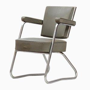 Silla de escritorio Bauhaus vintage de acero cromado tubular y vinilo