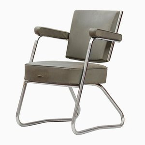 Vintage Bauhaus Tubular Chromed Steel & Vinyl Desk Chair