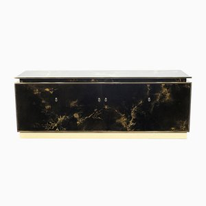 French Brass Lacquered Sideboard from Maison Jansen, 1970s