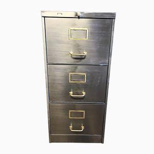 Vintage Industrial Stripped Metal Filing Cabinet, 1940s