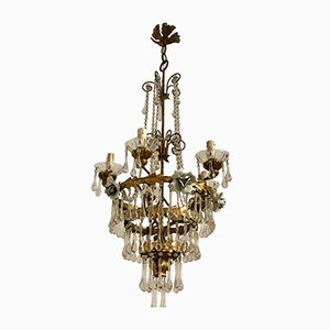Italian Gold Gilded Murano Glass Chandelier, 1930s