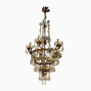 Lámpara de araña italiana de cristal de Murano dorado, años 30