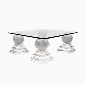Acrylic And Marble Pyramid Side Table, 1970s