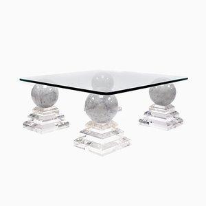 Tavolino Pyramid in acrilico e marmo, anni '70