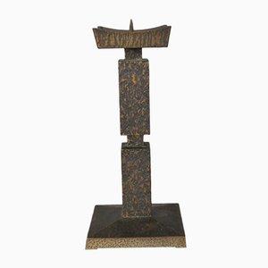 Heavy Brutalist Brass Candleholder, 1950s
