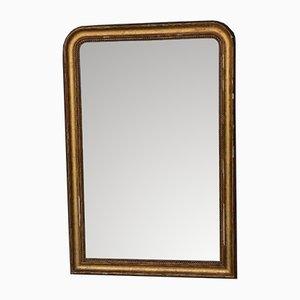 Espejo francés estilo Louis Philippe grande de madera dorada, siglo XIX