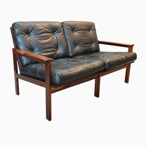 Vintage Capella Rosewood & Leather Sofas by Illum Wikkelsø for Niels Eilersen, Set of 2