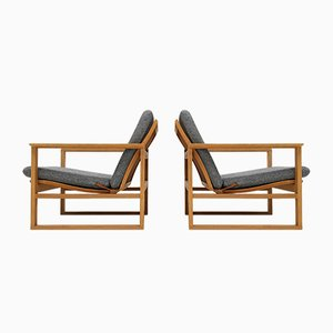 2256 Oak Sled Lounge Chairs by Børge Mogensen for Fredericia Stolefabrik, 1956, Set of 2
