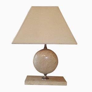 Lámpara vintage de travertino y cromo de Philippe Barbier, años 70