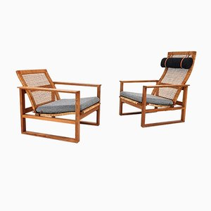 2256 & 2254 Oak Sled Lounge Chairs by Børge Mogensen for Fredericia Stolefabrik, 1956, Set of 2