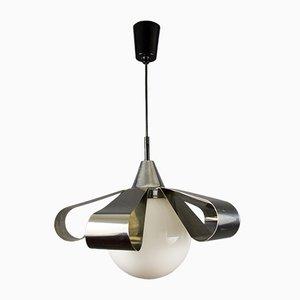 Chrome & Opaline Glass Ceiling Lamp, 1970s