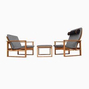 Dänische 2256 & 2254 Sessel mit Gestell aus Eiche & Fußhocker von Børge Mogensen für Fredericia Stolefabrik, 1956