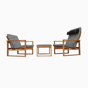 Danish 2256 & 2254 Oak Sled Lounge Chairs with Footstool by Børge Mogensen for Fredericia Stolefabrik, 1956