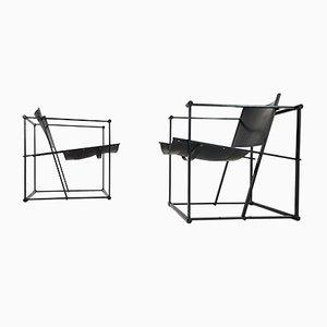 FM62 Stühle aus Stahl & Leder von Radboud van Beekum für Pastoe, 1980er