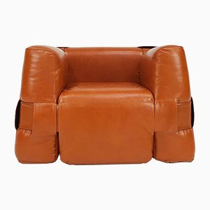 932 Quartet Cognac Leather Armchair & Sofa by Mario Bellini for Cassina, 1965