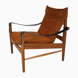 Swedish Antilop Safari Cognac Suede Chair by Hans Olsen for Viskadalens Mobler, 1950s