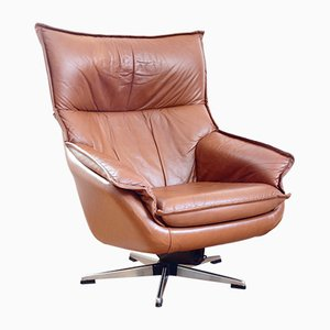 Finnish Leather Swivel Armchair from TUZEX, 1980s