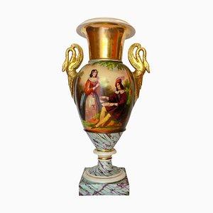 Antique Large Hand-Painted Porcelain Urn Vase