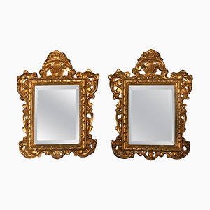 Antique Venetian Hand-Carved Gilded Mirrors, Set of 2
