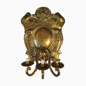 Antique Swedish Brass Three-Light Wall Sconce